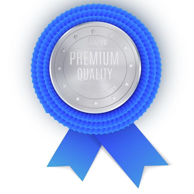 Silberner bestpreis-abzeichen mit blauem band Premium Vektoren