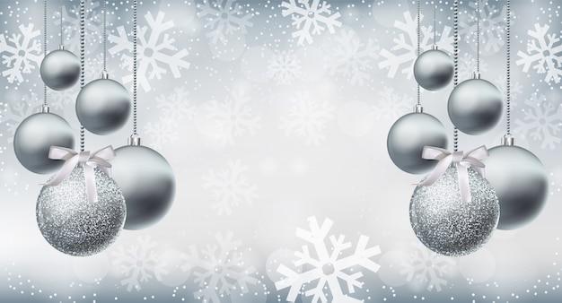 Silberner glänzender funkelnflitter auf schneeflockenhintergrund Premium Vektoren