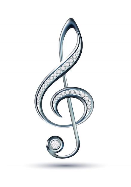 Silberner violinschlüssel mit diamanten Premium Vektoren