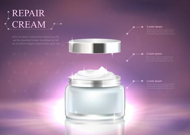 Silbernes sauberes glaskosmetikglas mit weißer creme Premium Vektoren