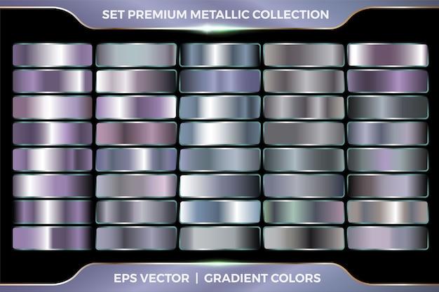 Silberpurpurne farbverlaufssammlung großer satz von metallpalettenschablone Premium Vektoren