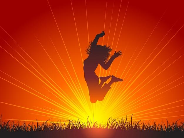 Silhouette Der Weiblichen Springen Für Freude Download Der