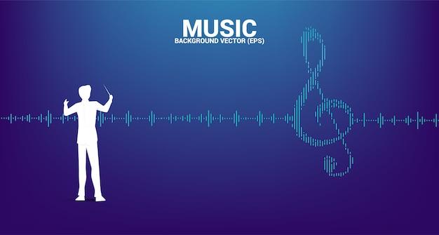 Silhouette des dirigenten mit sol key note icon schallwelle music equalizer hintergrund. hintergrund für eventkonzert und musikfestival Premium Vektoren