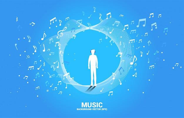 Silhouette des mannes mit kopfhörer und musikmelodienoten-tanzfluss. Premium Vektoren