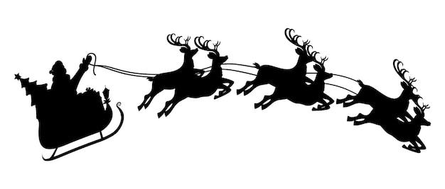 Silhouette des weihnachtsmanns auf schlitten voller geschenke und seiner rentiere. frohes neues jahr dekoration. frohe weihnachten. neujahrs- und weihnachtsfeier. Premium Vektoren