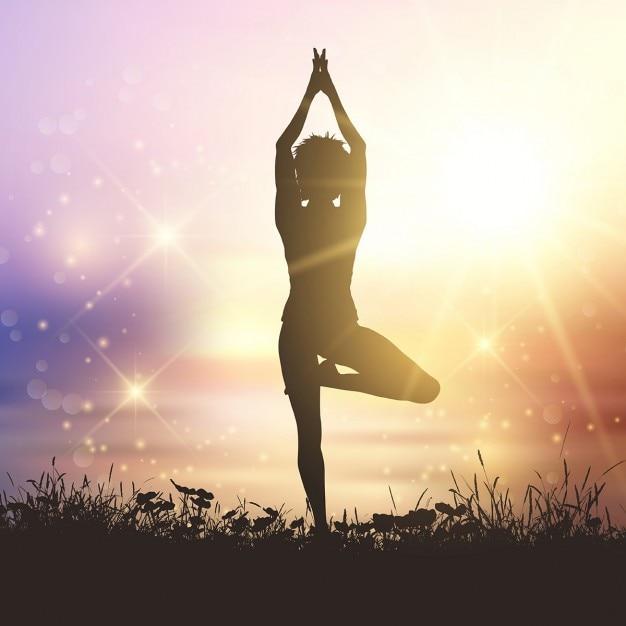 Silhouette einer Frau in einer Yoga-Pose Kostenlose Vektoren