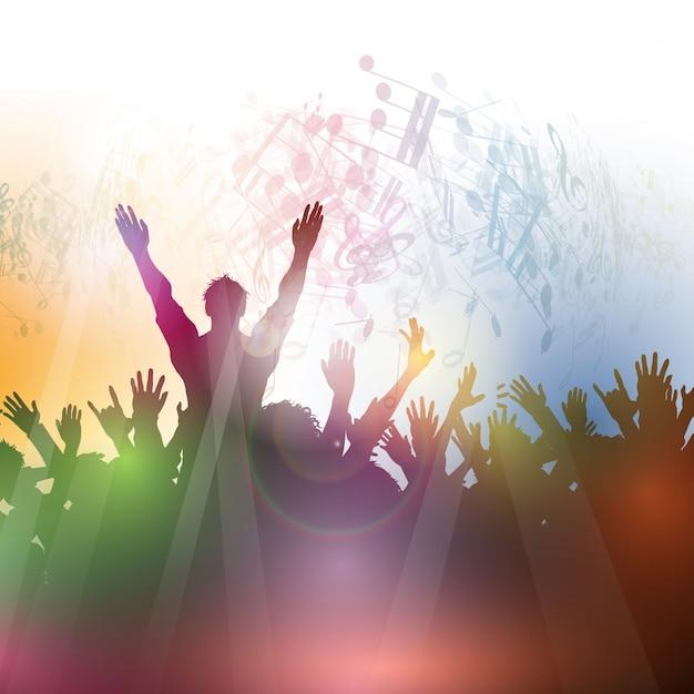 Silhouette einer Partei Menschenmenge auf einem abstrakten Hintergrund Kostenlose Vektoren