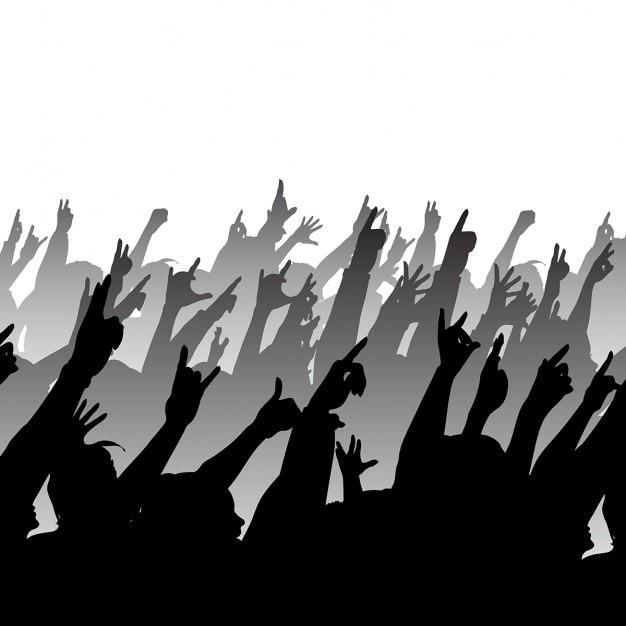Silhouette eines rock publikum Kostenlosen Vektoren