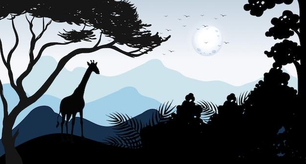 Silhouette giraffe und wald szene Kostenlosen Vektoren