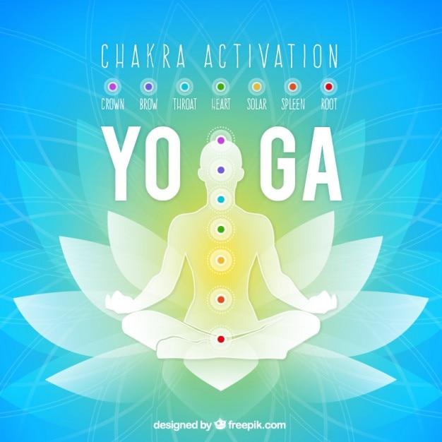 Silhouette in yoga-position auf floral background Kostenlosen Vektoren