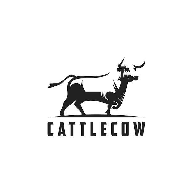 Silhouette kuh logo abbildung Premium Vektoren