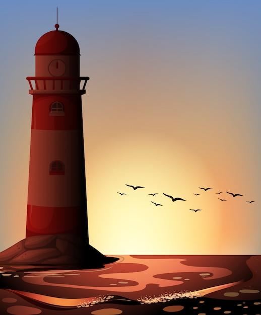 Silhouette leuchtturm Kostenlosen Vektoren