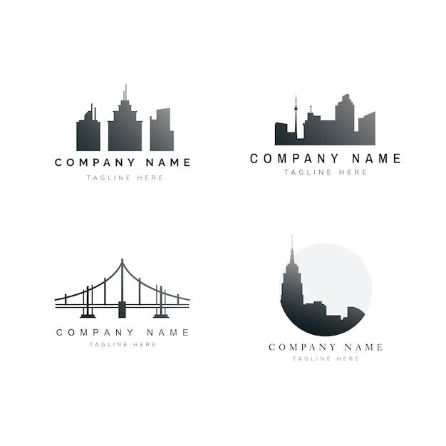 Silhouette skyline abbildung sammlung Kostenlosen Vektoren