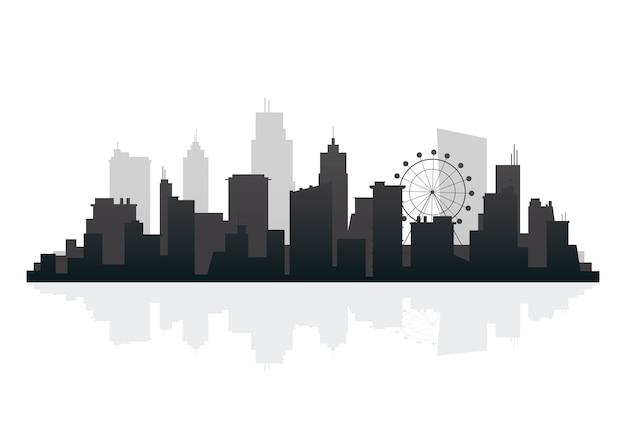 Silhouette skyline abbildung Kostenlosen Vektoren