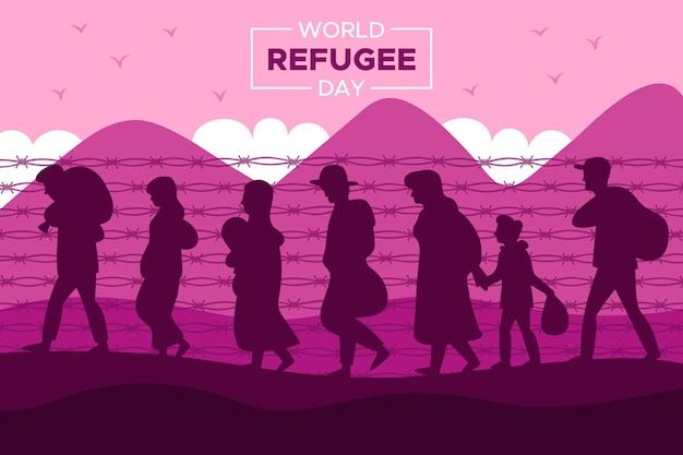 Silhouette weltflüchtlingstag konzept Kostenlosen Vektoren