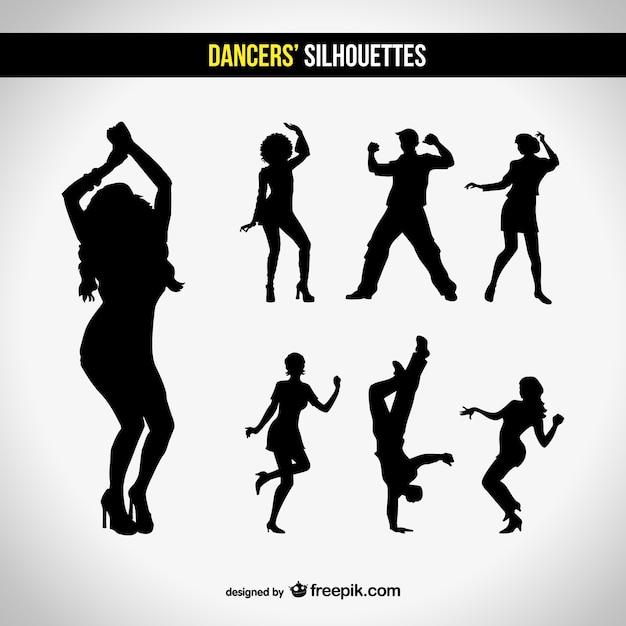 Silhouetten club tanzen satz Kostenlosen Vektoren