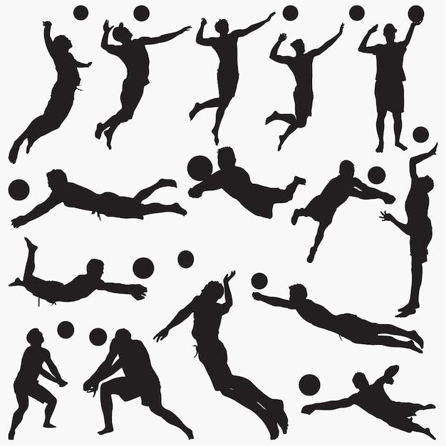 Silhouetten mann volleyball gesetzt Premium Vektoren