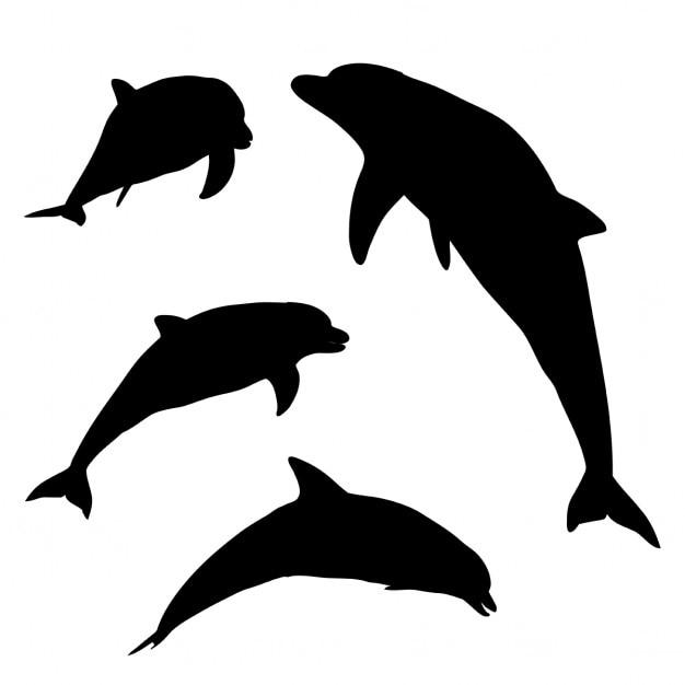 Silhouetten von delphinen in verschiedenen posen Kostenlosen Vektoren