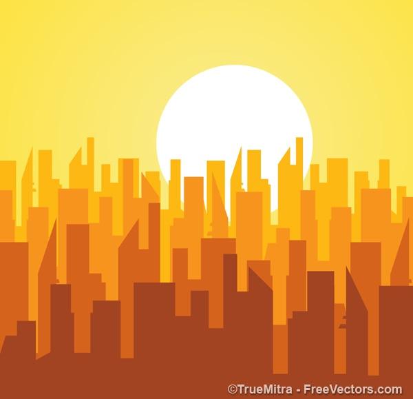 Silhouetten von gebäuden bei sonnenaufgang Kostenlosen Vektoren