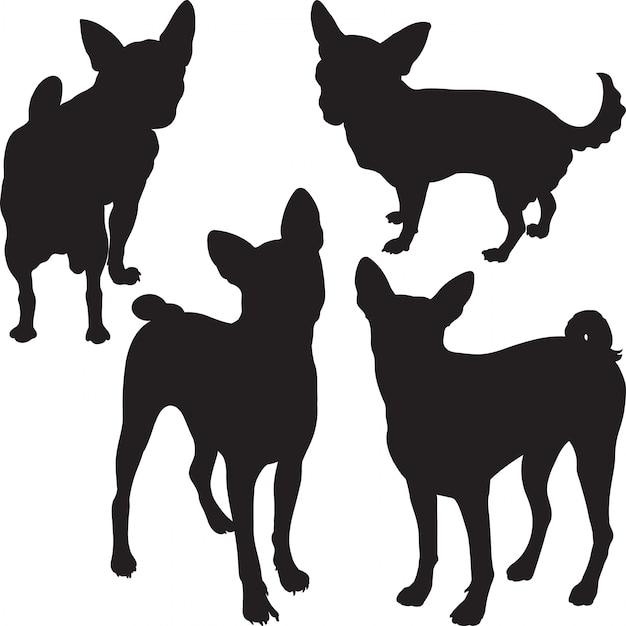 Silhouetten von hunden im gestell Premium Vektoren