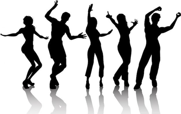 Silhouetten von Menschen tanzen Kostenlose Vektoren
