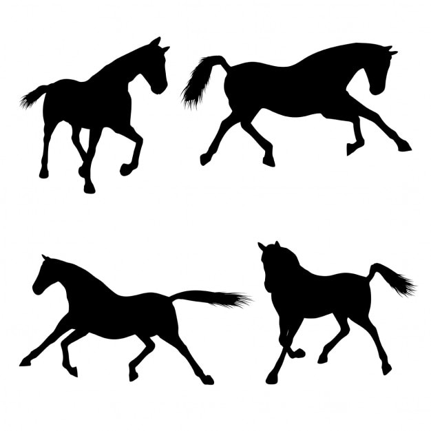 Silhouetten von pferden in verschiedenen posen Kostenlosen Vektoren