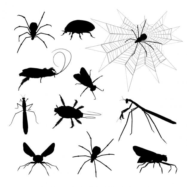 Silhouetten von verschiedenen insekten Kostenlosen Vektoren