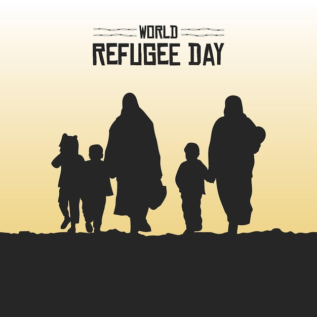 Silhouetten weltflüchtlingstag Kostenlosen Vektoren