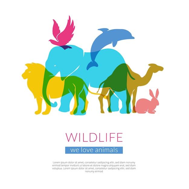 Silhouettenzusammensetzungsplakat der tiere und der vögel der ebene wildes flaches buntes mit elefantlöwe-adler und kamel vector illustration Kostenlosen Vektoren