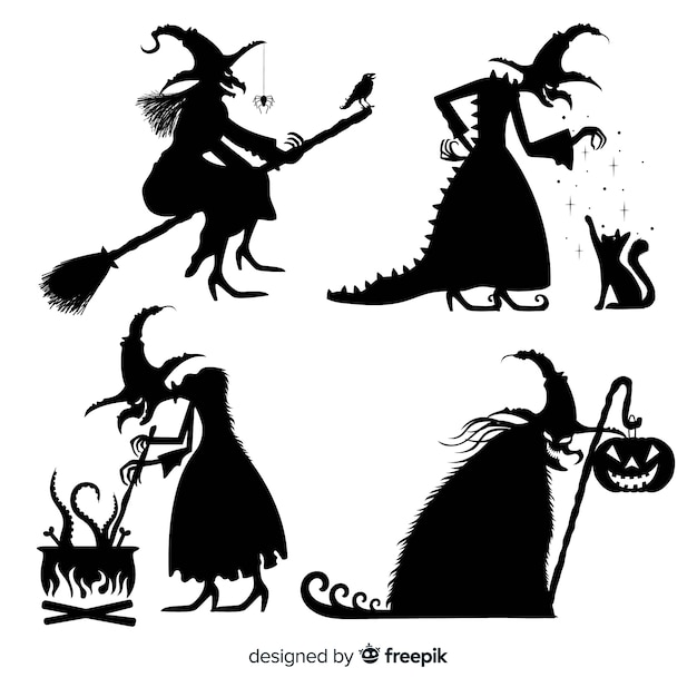 Silhouettieren sie halloween-hexensammlung Kostenlosen Vektoren