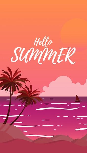 Silhouettieren sie landschaftsansicht des meeres mit sommerkokosnussbäumen während der sonnenuntergang in der sonnenuntergangszeit und der himmel mit der großen sonne in der orange farbe Premium Vektoren