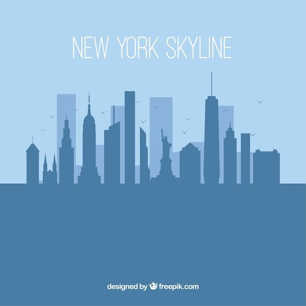 Silhouettieren Sie New- Yorkskylinehintergrund in der flachen Art Kostenlose Vektoren