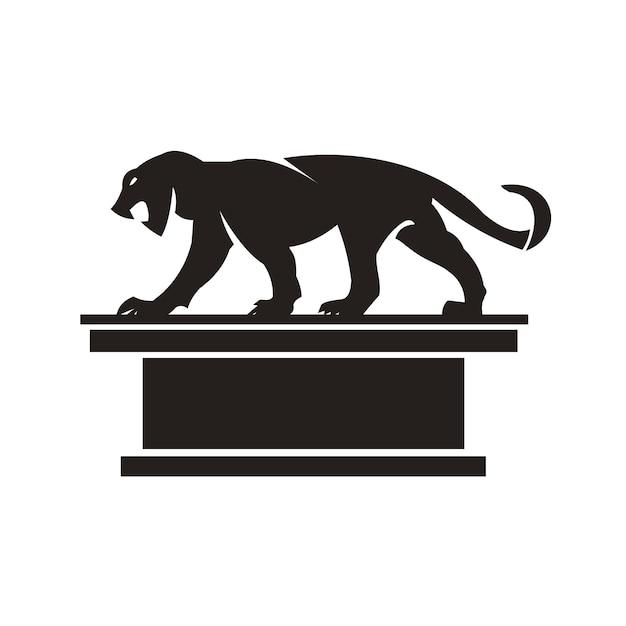 Silhouettieren sie schönen jaguar auf einem weißen hintergrund. Premium Vektoren