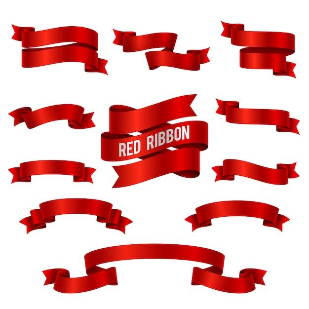Silk fahnen-vektorsatz des roten bandes 3d lokalisiert. illustration der roten bandsammlung für dekorationsstrudel Premium Vektoren