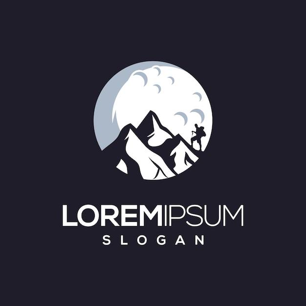 Siluet montai climber-logo-design Premium Vektoren