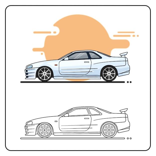 Silver sport car einfach bearbeitbar Premium Vektoren