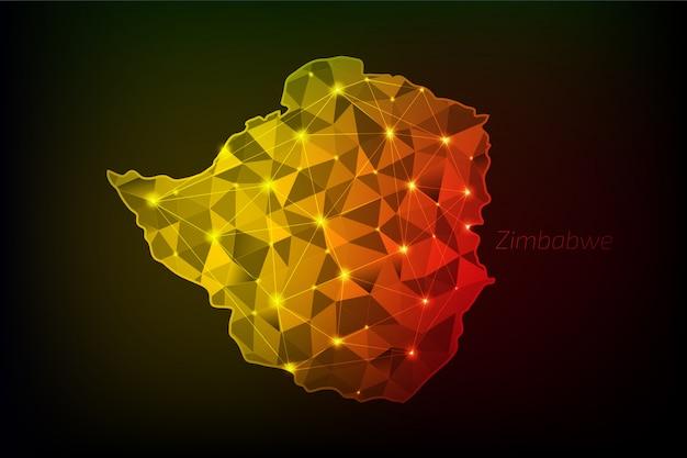 Simbabwe karte polygonal mit leuchtenden lichtern und linie Premium Vektoren