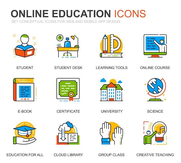 Simple set education und knowledge line icons für die website Premium Vektoren