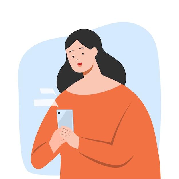 Simsende glückliche frau auf smartphone Premium Vektoren
