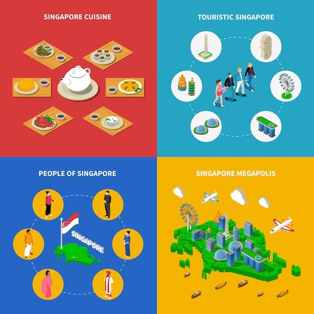 Singapur isometrische elemente und charaktere Kostenlosen Vektoren