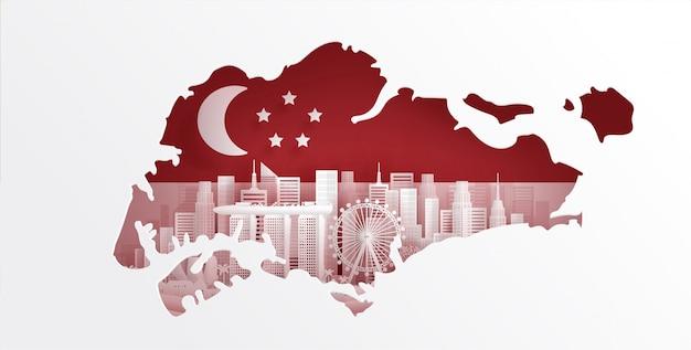 Singapur karte mit flagge und weltberühmten wahrzeichen Premium Vektoren