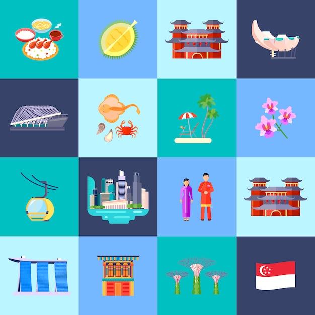 Singapur-kultur färbte die flache ikone, die mit hauptanziehungskräften in den kleinen kreisen eingestellt wurde, vector illustration Kostenlosen Vektoren