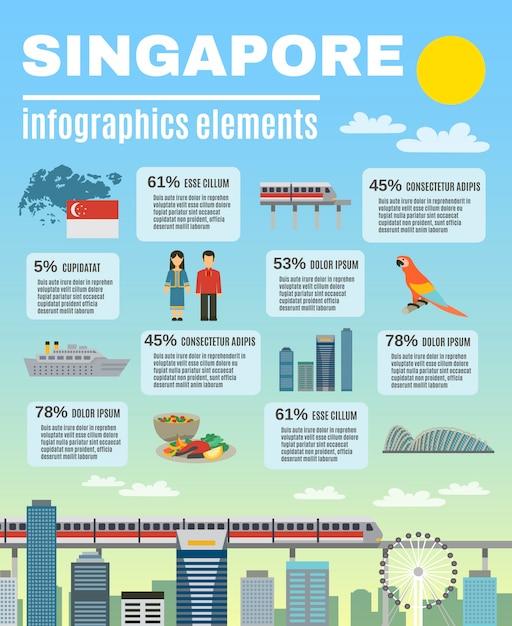 Singapur-kultur-infographic-darstellungs-plan-fahne Kostenlosen Vektoren