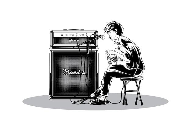 Singen sie in akustischer illustration Premium Vektoren