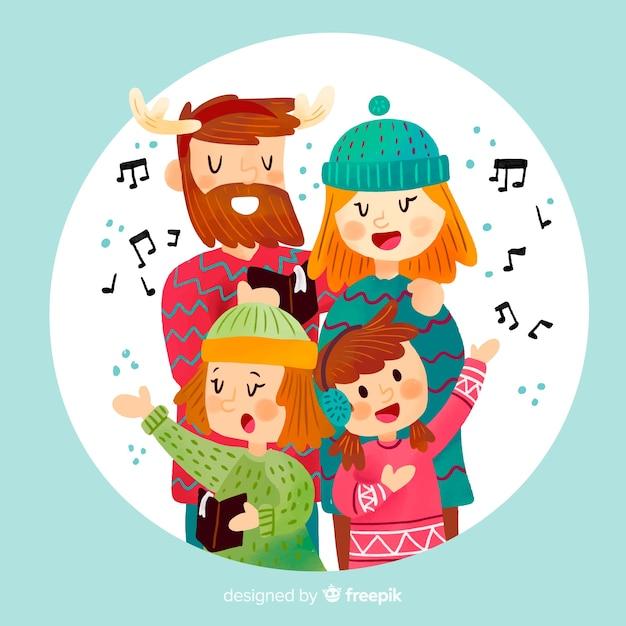 Singende familienweihnachtsabbildung Kostenlosen Vektoren