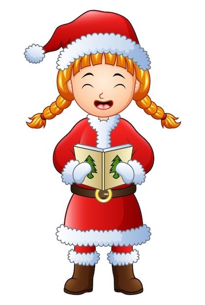 Singende weihnachtslieder des karikaturmädchens getrennt Premium Vektoren