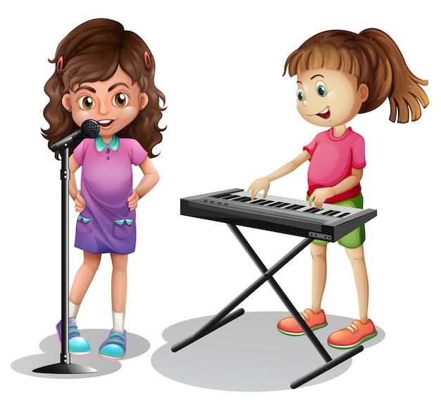 Singendes mädchen und mädchen, die elektronisches klavier spielen Kostenlosen Vektoren