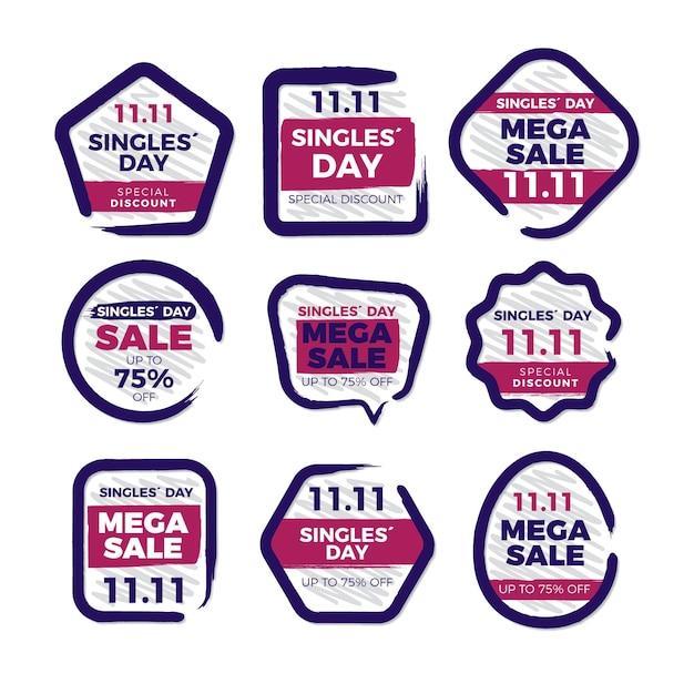 Singles day labels sammlung Kostenlosen Vektoren