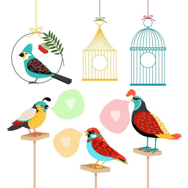 Singvögel mit sprechblasen und vogelkäfigen Premium Vektoren