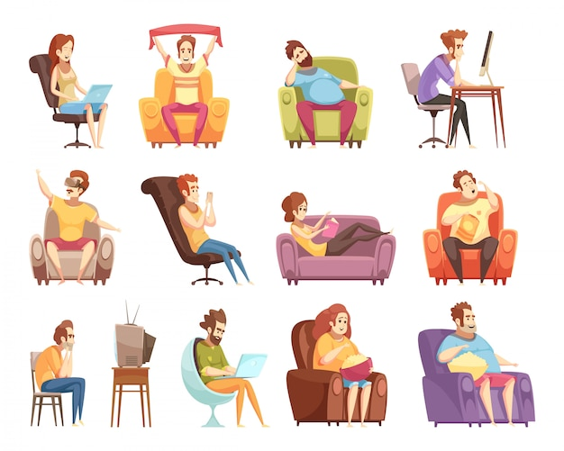 Sitzender lebensstilsatz retro- karikaturikonen Kostenlosen Vektoren